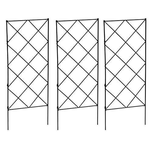 Hieefi Trellis Für Kletterpflanzen, Kletterpflanzen, Frame Garten-Blumen-anlage Wachsende Unterstützung Metall Eisen Trellis Wand Faltbare Schwarz 3pcs