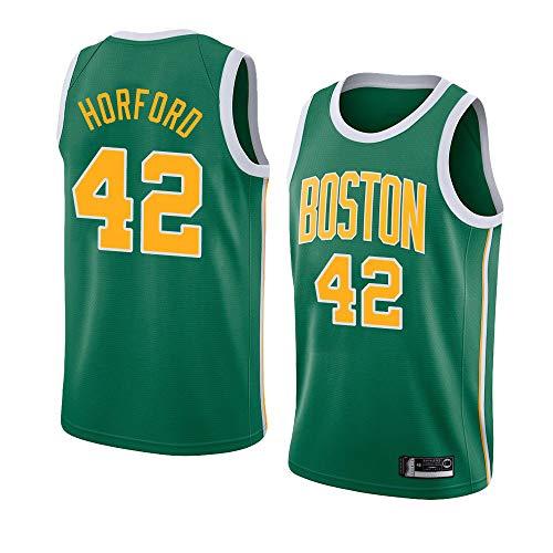 LITBIT Men's Basketball NBA Jersey Boston Celtics 42# Horford City Edition 2021 Transpirable Quick Secking sin Mangas Vestima Top para Deportes,Verde,S