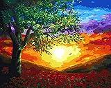Pintura de bricolaje por números Pintura al óleo pintada a mano Paisaje Imagen Pintura Dibujo sobre lienzo Decoración del hogar Regalo único 0114-16 * 20 pulgadas sin marco