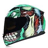 HNLong Cascos de motocross, cascos geniales de cubierta completa para hombres y mujeres, cascos integrales para locomotoras, cascos todoterreno-Green Monster Tea_M