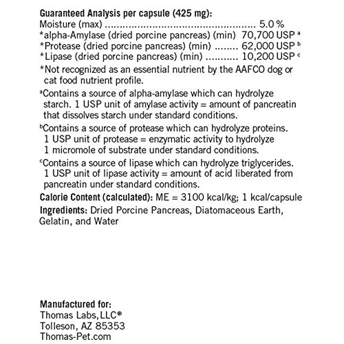 Thomas Labs Bio Case - Pancreatic Enzyme Supplement for Dogs & Cats - Digestive Aid - (60 Capsules)