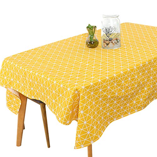 LINVINC Grijze/Gele Tafelloper - Linnen katoenen tafelkleed 130x180cm 140x180cm - Decoratieve modieuze accessoires voor thuis
