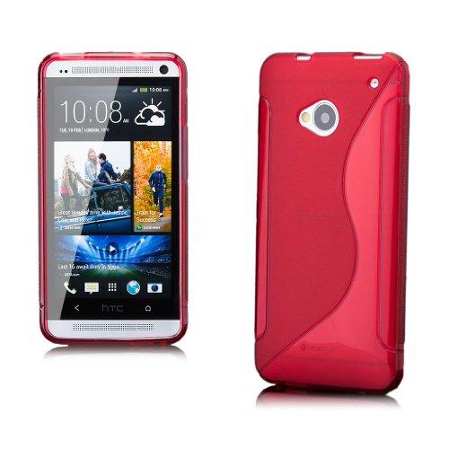 iCues HTC One M7 |  S-Line TPU Case Rot | [Display Schutzfolie Inklusive] Transparent Klarsichthülle Durchsichtig Klare Klarsicht Silikon Gel Schutzhülle Hülle Cover Schutz
