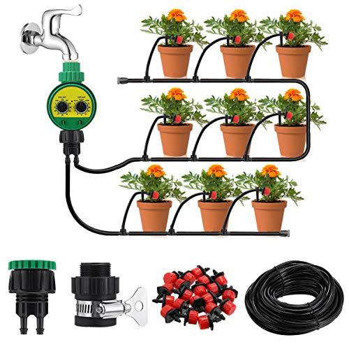 king do way 25M Kit de Riego por Goteo Ajustable, Sistema de Riego Automático con Temporizador, para Jardín, Macizo de Flores, Plantas de Patio