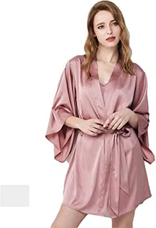 SCRT Pijama De Las Mujeres Atractivas Juego de 2 Piezas Batas Honda 100% Seda de satén de Seda con cinturón de sección Ligera Pijamas Loungewear (Color : Pink, Size : X-Large)