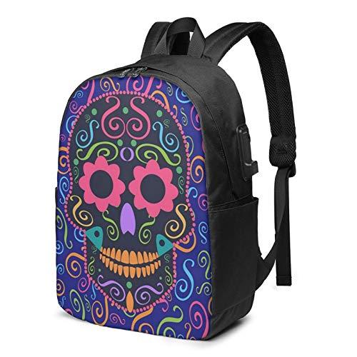 Laptop Backpack with USB Port Celebration Candy Skull Flower, Business Travel Bag, College School Computer Rucksack Bag for Men Women 17 Inch Laptop Notebook