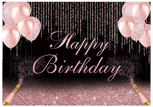 Funnytree 7x5ft Happy Birthday Party Backdrop Rose Gold Glitter Photography Background Women Lady Girl Pink Balloons Champagne Cake Table Decorations Sweet 16th 30th 40th 50th 60th Banner Photo Booth
