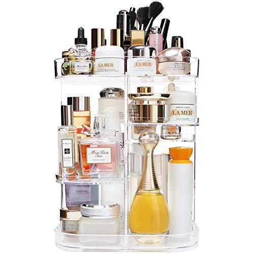 AMEITECH 360-Grad-Make-up-Organizer, verstellbar, drehbar, für Kosmetik, Karussell, drehbarer Halter mit 5 Ebenen, großes Fassungsvermögen, ideal für Arbeitsplatte, quadratisch