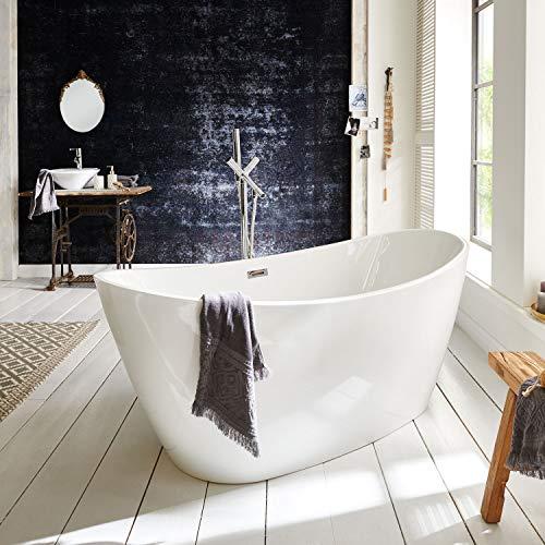 Freistehende Badewanne weiß oval Neptun Modern Acrylbadewanne 170x80cm ohne Armatur