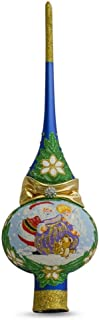 BestPysanky Santa with an Angel on Blue Glass Christmas Tree Topper 11 Inches