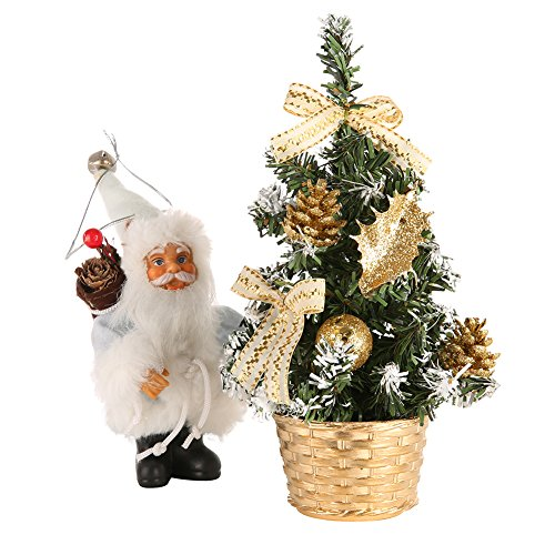 Hotiary Mini Christmas Tree,Pre-decorated Miniature Bonaic With Lights Small Decorative Artificial Xmas Battery Operated DIY Ornaments for Home, Kitchen, Desktop (Gold 8inch without Light)