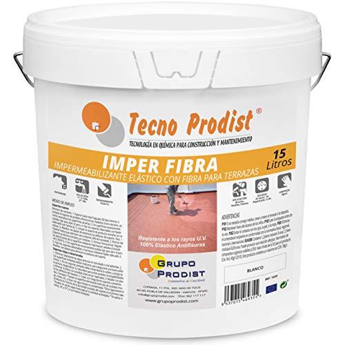 IMPER FIBRA de Tecno Prodist - 15 Litros (BLANCO) Pintura Terrazas Impermeabilizante y elástica con Fibras Incorporadas - Buena Calidad - (A Rodillo o brocha, disponible en color rojo o blanco)