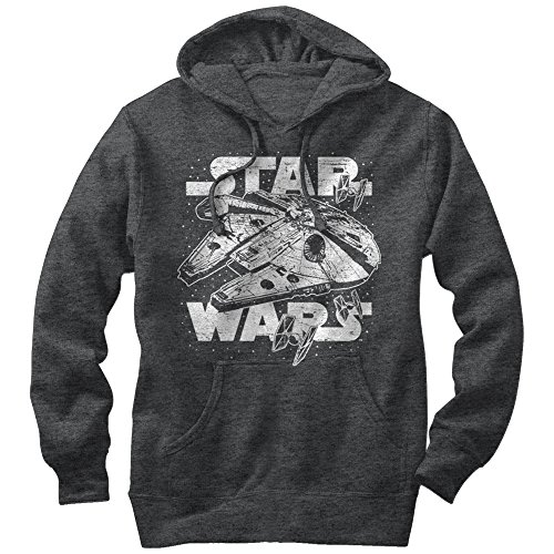 Price comparison product image Star Wars Men's Millennium Falcon Initiate Hyperdrive Charcoal Heather Hoodie