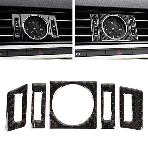 Dongdexiu Etiqueta engomada Decorativa del Reloj del Cuarzo de la Fibra de Carbono del Coche de 5 PCS for Volkswagen New Magotan