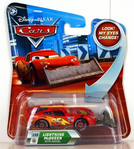 Disney Pixar Cars Lightning McQueen with Shovel (lenticular, look! my eyes change!) - Véhicule Miniature - Voiture