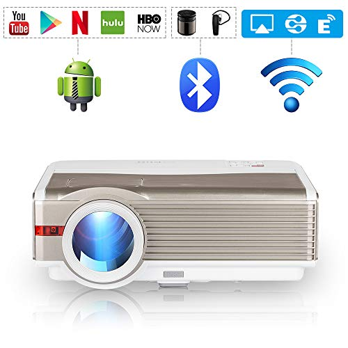 EUG LCD Bluetooth HDMI Projector 5000 Lux High Brightness Wireless Home Cinema Theater Video Projectors Support Full HD 1080P Airplay WiFi, Compatible with USB VGA Blu ray DVD PC PS4 TV Stick