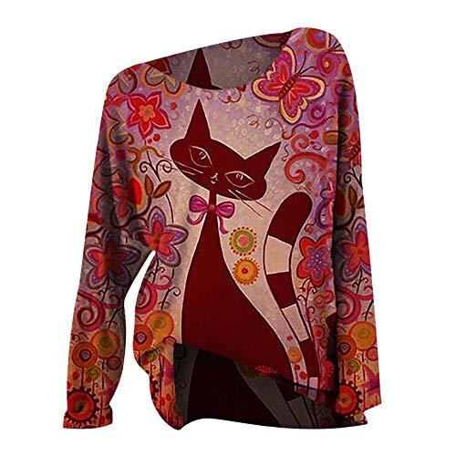 SEEGOU Blusa para mujer con estampado de mariposas y gatos, de manga larga, para invierno, manga larga, con estampado de gato rojo XXL
