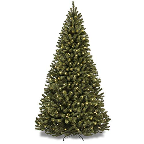 Best Choice Products 9ft Pre-Lit Spruce Hinged Artificial Christmas Tree w/ 900 UL-Certified Incandescent Warm White Lights, Foldable Stand