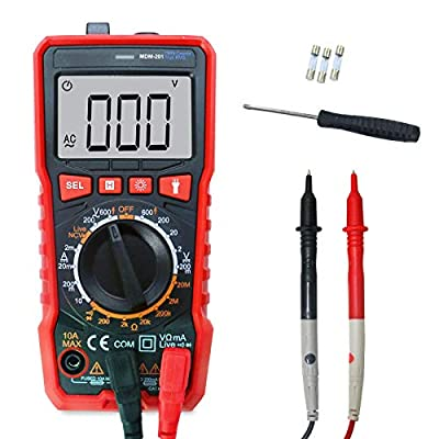Digital Multimeter Handheld MDM-201 1999 Counts Manual-Ranging NVC DC/AC Current Voltage Resistance Tester LCD Test Leads MDM-201