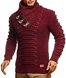 Leif Nelson Herren Strickpullover Pullover Schalkragen Slim Fit Männer Pulli Winter Slim Fit LN-5575 Bordeaux Schwarz Large