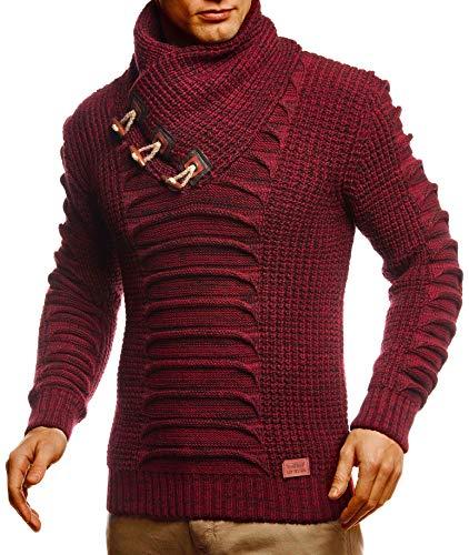 Leif Nelson LN5575 - Maglione da uomo a maniche lunghe, con collo sciallato, slim fit, colore nero, per l'inverno Bordeaux nero. L