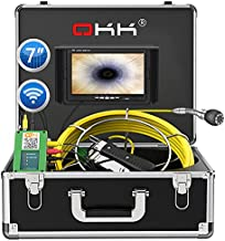 Wireless WiFi Pipe Inspection Camera,100ft Sewer Camera with 7 inch HD Color Monitor Industrial Plumbing for Android/iOS Video Recording and Images Snake Endoscope(100ft/30m-7inch)