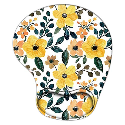 Gaming Mouse Pad with Wrist Support, Ergonomic Mousepad Non-Slip Soft Sensitive Material, Cute Mouse Pads for Wireless Mouse Plant Yellow Floral as Home Office Desktop Accessories or Ideal Gift