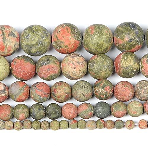 Piedra natural esmerilada verde rojo venas mixtas encanto redondo cuentas sueltas para hacer joyas costura pulsera DIY Strand 4-12 mm H7469 10mm aproximadamente 38pcs