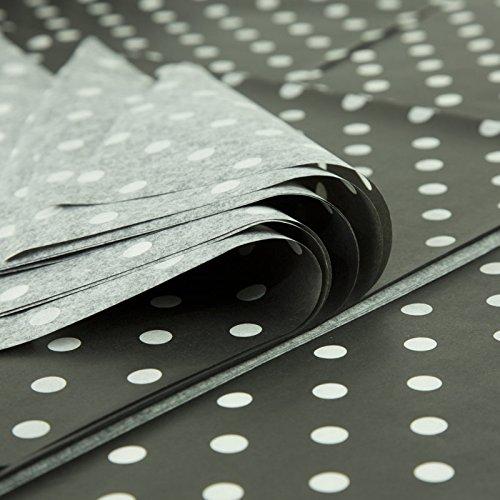 Papel de seda impreso, diseño de lunares blancos y negros, 100 hojas de 25 x 37 cm, 18 g.