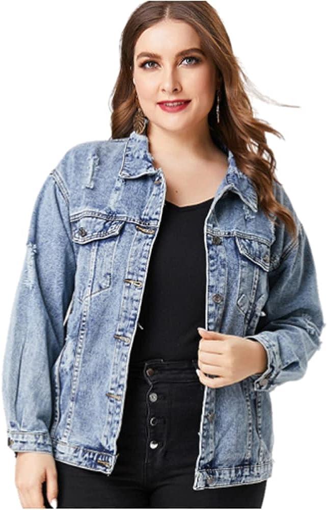 Plus Size Denim Jacket for Woman Ladies - Fashion Black Blue Jean Coat and Jacket