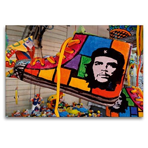 CALVENDO Premium Lienzo 120 cm x 80 cm Horizontal, Souvenir Cubano con el Retrato de Che Guevaras Imagen sobre Bastidor, Listo en Lienzo auténtico, impresión en Lienzo Orte Lugares.