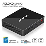 [Latest Gemini Lake] ADLOKO GE41 - Mini PC, Intel Gemini Lake N4100, HD Graphics 600, RAM DDR4 4GB/ROM 64GB, Support 2.5'SATA HDD/SDD/USB Type-C/Dual HDMI 4K/Gigabit LAN/Dual WiFi