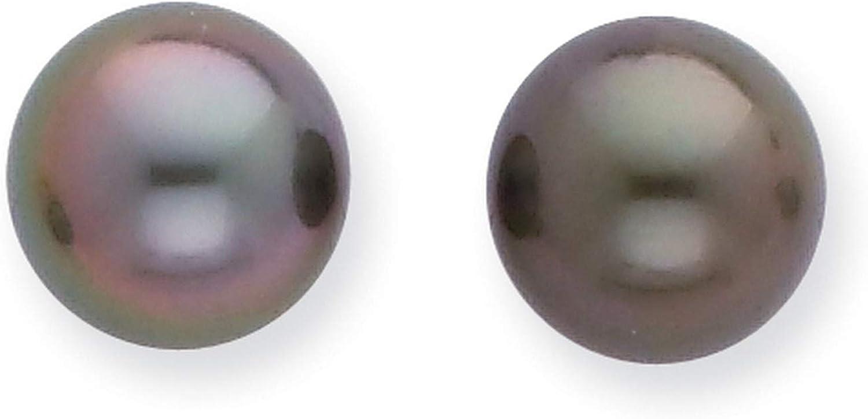 14k White Gold 8-9mm Saltwater Tahitian Pearl Earrings 8x8 mm