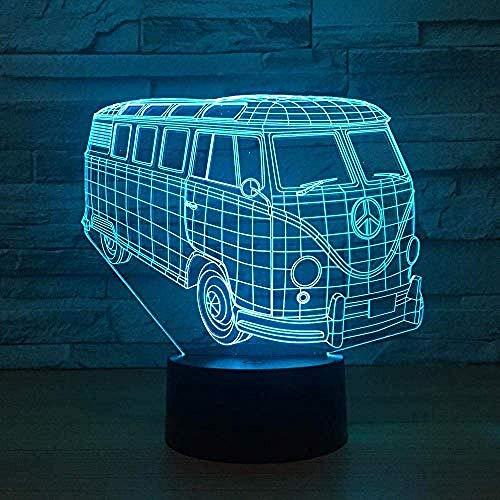 Creative Country Bus Night Light 7 Cambio de Color Interruptor de Luces Pequeñas Ambiente Luces Regalo Dormitorio Luces