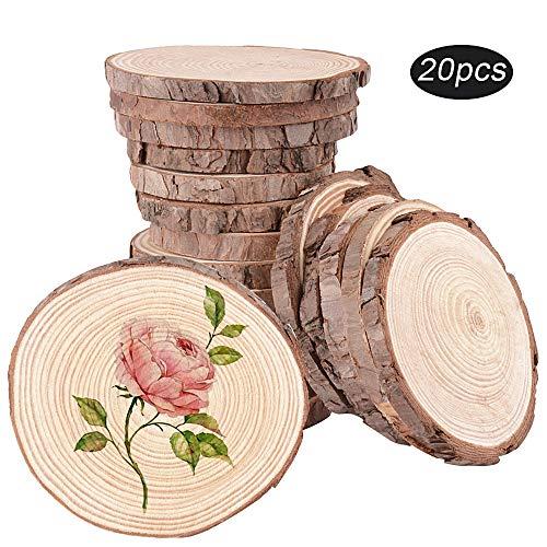 SERWOO 20 Stück Holzscheiben ca.8-10cm Holz Scheiben rund Natur zum Basteln Bemalen Verzierung für DIY Handgemachte Hochzeit Handwerk Weihnachten Dekoration