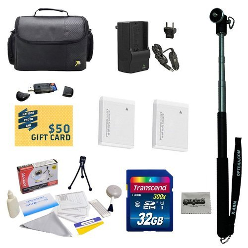47th Street Photo Best Value Point & Shoot Ultimate Accessory Kit for Canon PowerShot SX600 Digital Camera Includes 2 Extended Replacement NB-6L Battery + AC/DC Travel Charger + Self Portrait Monopod + Mini tripod + 32GB Transcend High Speed Error Free SDHC Memory Card + USB 2.0 Card Reader + Deluxe Carrying Case + Screen Protectors Photo Print ! Deluxe Cleaning Kit + More