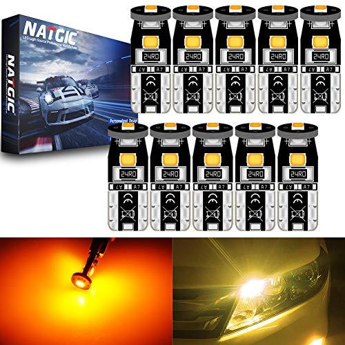 NATGIC T10 W5W 194 921 168 2825 Ampoules LED CanBus sans Erreur 3SMD 3030 Puce pour éclairage Intérieur de Voiture Porte Courtoisie Wedge Light Tronc Ampoules - Ambre 3500K 350LM 12V (Pack de 10)
