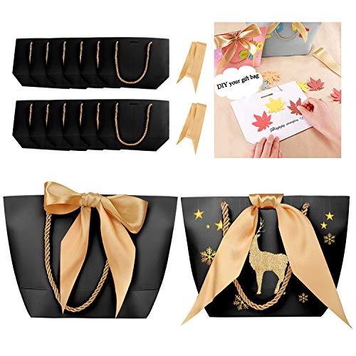 Phogary 12 Geschenktüten - Geschenkbeutel aus Papier mit Bogen Band, Elegant papiertüten für Geburtstag, Hochzeit, Abschluss-Feier, DIY geschenktüten (Mattschwarz, 28x20x9cm)