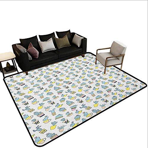 MsShe Kinderspeelgoed tapijt Cactus, Abstract Bloemenpatroon met vazen en potten Botany Lente Seizoen Cartoon, Groen Bruin Goudsbloem