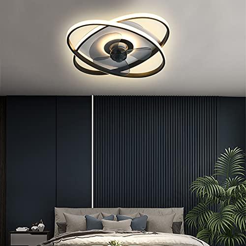 Luz Plafon Negro Regulable Dormitorio LED Lámpara de Techo con Ventilador, Silencioso Ventilador de Techo con Luz APP Control 3 Velocidad Viento Ruido Bajo para Restaurante Salón Estudio 50CM, VOMI