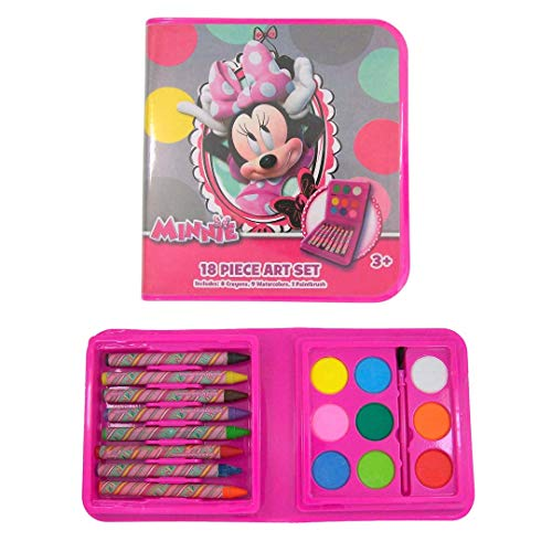 Disney Minnie Mouse Art Set, Bow-Tique Mini Kit with Paint and Crayons, 18 Piece