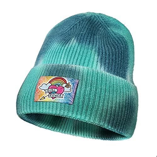 Cute Tie Dye Beanies for Men Heart Rainbow Girl Power Freedom Gay Pride Woman Ski BeanieSoft Knitted Fisherman Beanie