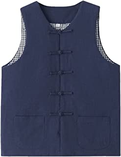 Chinese Traditional Cotton Vest Men Winter Traditional Chinese Clothing Vest Sleeveless Men, Tang Suit Hanfu Sleeveless Ja...