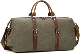 Duffel Bag Men Large Fancy Luxury Vintage Travel Canvas and Leather Duffle Bag (Color : Green, Size : S)