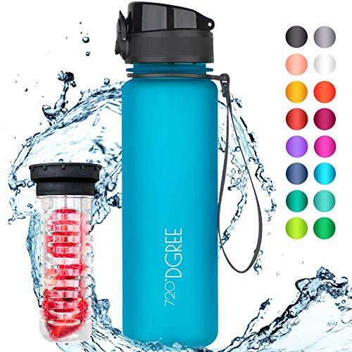 """720°DGREE Trinkflasche """"uberBottle"""" - 500 ml, 0,5 l, Blau - Neuartige Tritan Wasser-Flasche - Water Bottle BPA Frei - Ideale Sportflasche für Kinder, Fitness, Fahrrad, Sport, Fussball"""