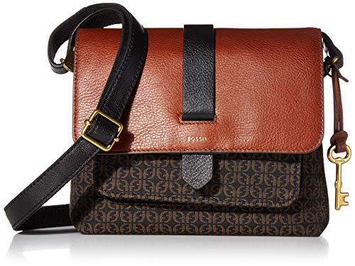 Fossil Women's Kinley Fabric Small Crossbody Purse Handbag, Black Jacquard