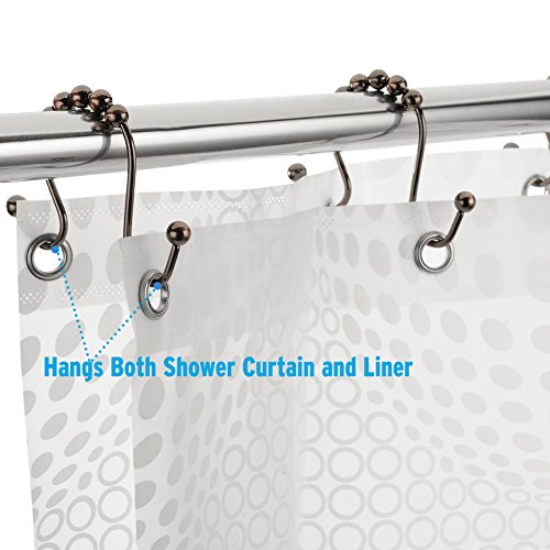 Amazer Shower Curtain Hooks Double Shower Curtain Rings Stainless Steel Rust-Resistant Double Glide Shower Hook Rings for Bathroom Shower Rod Curtains, Set of 12, Bronze- Close to The Gunmetal Color
