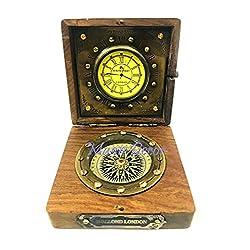 Maan Decor Antique Brass Wood Box Compass with Clock Maritime Antique Pocket Transit Compass Gift Item Nautical Decor Camping Compass Hiking Compass, Steampunk Compass