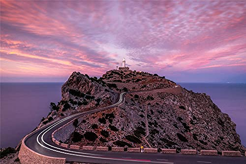 YANCONG Puzzle Personalizado 500 Piezas, España Mallorca Faro Atardecer