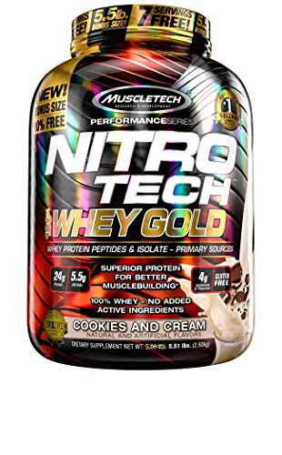 Protein Powder | MuscleTech Nitro-Tech Whey Gold | Whey Protein Powder | Whey Protein Isolate + Peptides | Protein Powder for Women & Men | Cookies & Cream Protein Powder, 5.5 lbs (76 Servings)